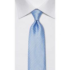 Krawaty męskie: Jedwabny krawat w kolorze niebieskim – szer. 8 cm