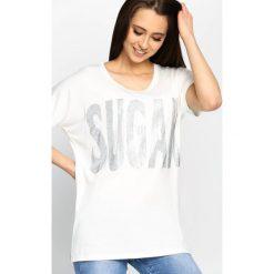 Biały T-shirt Sugar Cane. Białe t-shirty damskie Born2be, l. Za 49,99 zł.