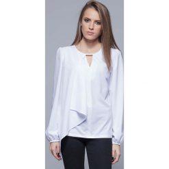 Bralety: Biała Elegancka Wizytowa Bluzka z Asymetryczną Falbanką