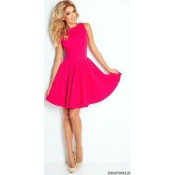 125-3 Sukienka KOŁO - dekolt łódka - malionwa. Różowe sukienki mini marki numoco, l, z dekoltem w łódkę, oversize. Za 164,00 zł.