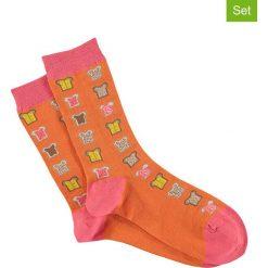 Skarpetki damskie: Skarpety (3 pary) w kolorze pomarańczowo-jasnoróżowym