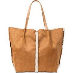 Shopper bag damskie: Torba shopper ze sztucznej skóry jagnięcej bonprix wielbłądzia wełna - kremowy