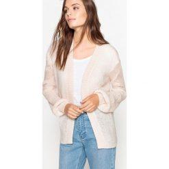 Luźny sweter-narzutka, cienka dzianina. Białe swetry oversize damskie La Redoute Collections, l, z dzianiny. Za 163,76 zł.