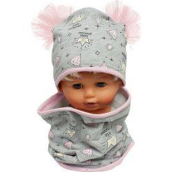 Czapka bawełniana z kominkiem W-086A szara. Szare czapeczki niemowlęce Proman, z bawełny. Za 44,27 zł.
