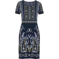 Sukienka dzianinowa bonprix ciemnoniebiesko-nocny oliwkowy. Niebieskie sukienki dzianinowe bonprix. Za 99,99 zł.