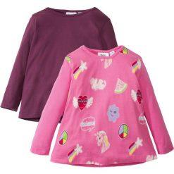 Koszulka z długim rękawem (2 szt.) bonprix różowy flaming z nadrukiem + jeżynowy. Niebieskie bluzki dziewczęce marki bonprix, z nadrukiem. Za 45,98 zł.