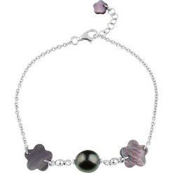Bransoletki damskie: Srebrna bransoletka z perłą Tahiti i masą perłową