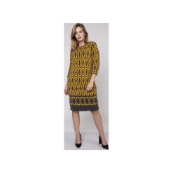 Sukienka we wzory, SUK005 grafit/żółty MKM. Żółte sukienki dzianinowe marki Mkm swetry, l. Za 145,00 zł.