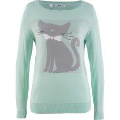 Sweter dzianinowy, długi rękaw bonprix pastelowy miętowy. Zielone swetry klasyczne damskie marki bonprix, z dzianiny, z kontrastowym kołnierzykiem. Za 59,99 zł.