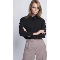 Bielizna damska: Czarna Klasyczna Koszula Damska z Krytym Zapięciem