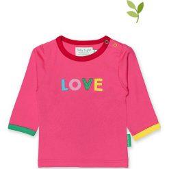 Koszulka w kolorze różowym. Czerwone bluzki dziewczęce bawełniane Toby Tiger, z aplikacjami, z okrągłym kołnierzem, z długim rękawem. W wyprzedaży za 85,95 zł.