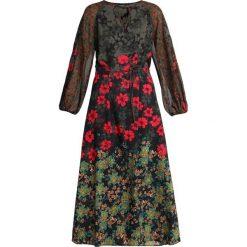 Sisley MIXED FLORAL PRINT DRESS Długa sukienka multicoloured. Szare długie sukienki Sisley, z elastanu, z długim rękawem. Za 639,00 zł.