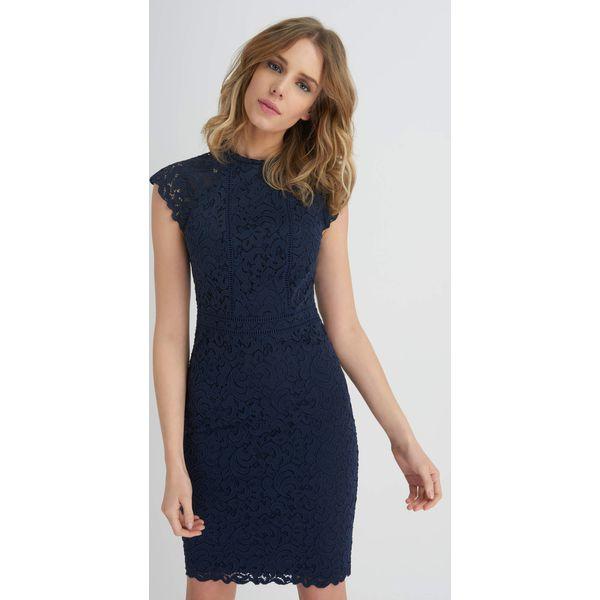 Modernistyczne Ołówkowa sukienka z koronki - Niebieskie sukienki damskie Orsay, s FI63