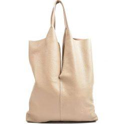 Torebki klasyczne damskie: Skórzana torebka w kolorze szarobrązowym – 42 x 38 x 1 cm