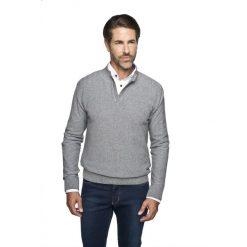 Sweter blanc troyer szary. Szare swetry klasyczne męskie Recman, m, z kołnierzem typu troyer. Za 149,99 zł.