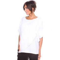 """Bluzki asymetryczne: Lniana koszulka """"Leny"""" w kolorze białym"""