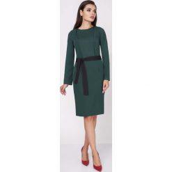 Odzież damska: Zielona Ołówkowa Wyjściowa Sukienka z Wiązanym Paskiem