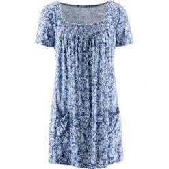 Tunika shirtowa, krótki rękaw bonprix indygo-biały wzorzysty. Białe tuniki damskie bonprix, z krótkim rękawem. Za 69,99 zł.