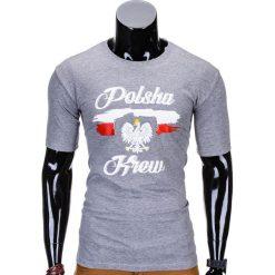 T-SHIRT MĘSKI Z NADRUKIEM S776 - SZARY. Szare t-shirty męskie z nadrukiem Ombre Clothing, m. Za 29,00 zł.