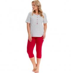 Piżama w kolorze biało-czarno-czerwonym - t-shirt, spodnie. Białe piżamy damskie Doctor Nap, l, w paski. W wyprzedaży za 79,95 zł.