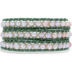 Bransoletki damskie: Skórzana bransoletka w kolorze zielonym z perłami słodkowodnymi