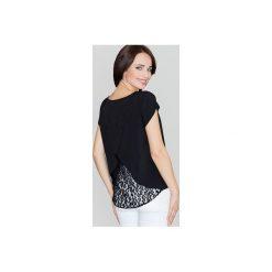 Bluzka K292 Czarny. Czarne bluzki damskie Lenitif, s, z koronki, eleganckie, z kopertowym dekoltem, z krótkim rękawem. Za 99,00 zł.