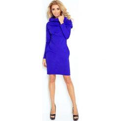 Chabrowa Sukienka Dopasowana z Obfitym Golfem. Niebieskie długie sukienki marki Molly.pl, l, z tkaniny, eleganckie, z golfem, z długim rękawem, dopasowane. Za 149,90 zł.
