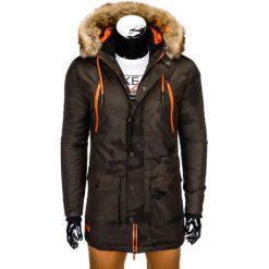 KURTKA MĘSKA ZIMOWA PARKA C358 - MORO. Czarne kurtki męskie pikowane marki Ombre Clothing, m, z bawełny, z kapturem. Za 189,00 zł.