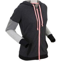Bluzy rozpinane damskie: Bluza rozpinana, długi rękaw bonprix czarny melanż