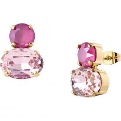 Pozłacane kolczyki-wkrętki z kryształkami Swarovski. Czerwone kolczyki damskie Destellos, z kryształem, metalowe. W wyprzedaży za 77,95 zł.