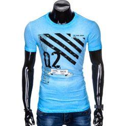 T-SHIRT MĘSKI Z NADRUKIEM S896 - BŁĘKITNY. Zielone t-shirty męskie z nadrukiem marki Ombre Clothing, na zimę, m, z bawełny, z kapturem. Za 39,00 zł.