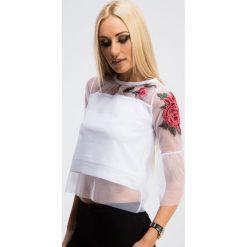 Bluzki damskie: Biała Bluzka z Szyfonem 3301