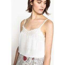 Bluzki damskie: Koszulka z koronki na cienkich ramiączkach