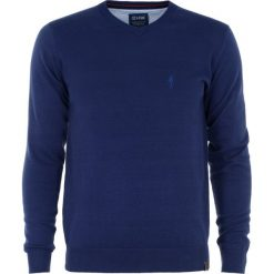 Sweter męski. Niebieskie swetry klasyczne męskie Ochnik, m, z bawełny, z klasycznym kołnierzykiem. Za 99,90 zł.
