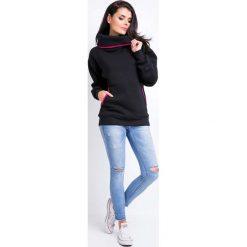 Bluzy rozpinane damskie: Czarna Bluza Kangurka z Szerokim Golfem