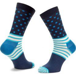 Skarpety Wysokie Unisex HAPPY SOCKS - SD01-066  Granatowy. Niebieskie skarpetki męskie Happy Socks, z bawełny. Za 34,90 zł.