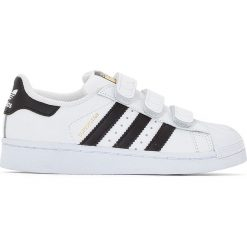 Trampki z rzepem Superstar Foundation. Szare buty sportowe dziewczęce adidas Originals, z materiału. Za 306,56 zł.