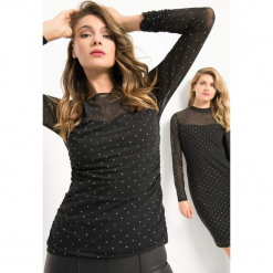 Koszulka w błyszczące groszki. Czarne bluzki damskie marki Orsay, xs, w grochy, z elastanu. W wyprzedaży za 55,00 zł.