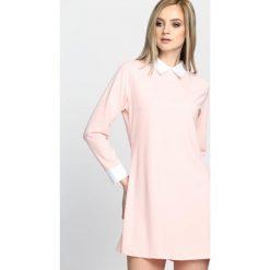 Sukienki: Łososiowa Sukienka White Collared