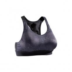 Stanik fitness kardio 500. Czarne biustonosze sportowe marki KALENJI, z elastanu. Za 49,99 zł.