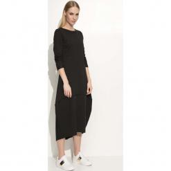 Czarna Sukienka Asymetryczna Bombka Midi z Długim Rękawem. Szare sukienki asymetryczne marki bonprix, melanż, z dresówki, z kapturem, z długim rękawem, maxi. Za 95,90 zł.