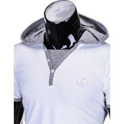 T-SHIRT MĘSKI Z KAPTUREM BEZ NADRUKU S682 - BIAŁY. Zielone t-shirty męskie z nadrukiem marki Ombre Clothing, na zimę, m, z bawełny, z kapturem. Za 25,00 zł.