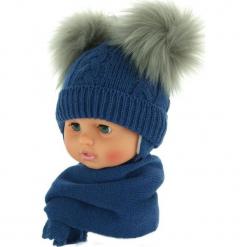 Czapka niemowlęca z szalikiem CZ+S 016A. Szare czapeczki niemowlęce Proman. Za 47,14 zł.