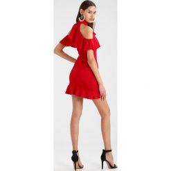 Sukienki: Missguided HIGH NECK COLD SHOULDER FRILL DETAIL MINI DRESS Sukienka koktajlowa red