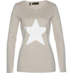 Sweter bonprix kamienisty melanż - biel wełny. Brązowe swetry klasyczne damskie bonprix, z wełny, z klasycznym kołnierzykiem. Za 89,99 zł.