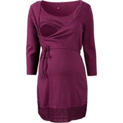 Tunika ciążowa i do karmienia piersią, rękawy 3/4 bonprix jeżynowy. Fioletowe bluzki ciążowe marki bonprix, w paski, z dzianiny, moda ciążowa, z długim rękawem. Za 79,99 zł.