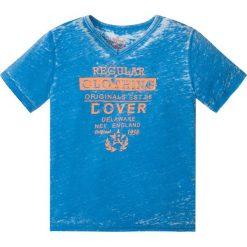 """Odzież chłopięca: T-shirt """"used"""" bonprix niebieski z nadrukiem"""