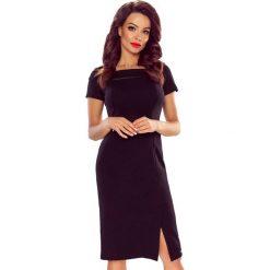 TAMINA elegancka sukienka z siateczkową wstawką czarna. Czarne sukienki balowe marki Bergamo, do pracy, midi. Za 149,00 zł.