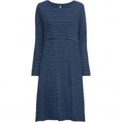 Sukienka bonprix głęboki niebieski-biały w paski. Niebieskie sukienki z falbanami marki bonprix, w paski, z długim rękawem. Za 89,99 zł.