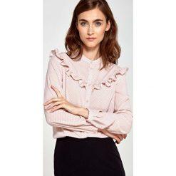 Bluzki damskie: Różowa Koszulowa Bluzka z Falbankami